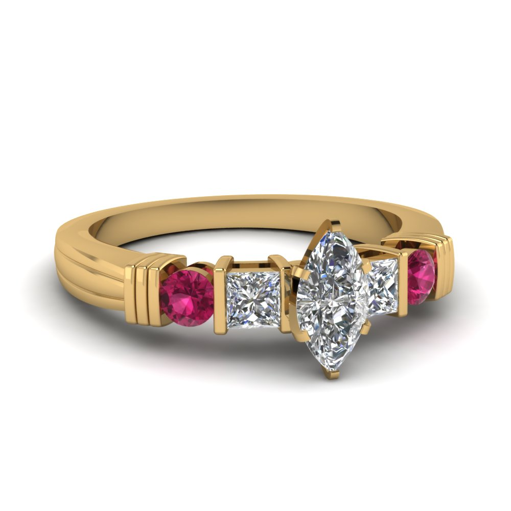 bar marquise diamond engagement ring with pink sapphire in FDENS152MQRGSADRPI NL YG