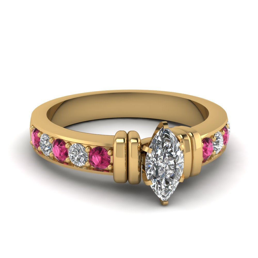 simple bar set marquise moissanite engagement ring with pink sapphire in FDENR957MQRGSADRPI Nl YG