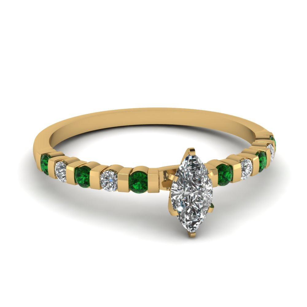 Green Emerald And Marquise Diamond Engagement Ring