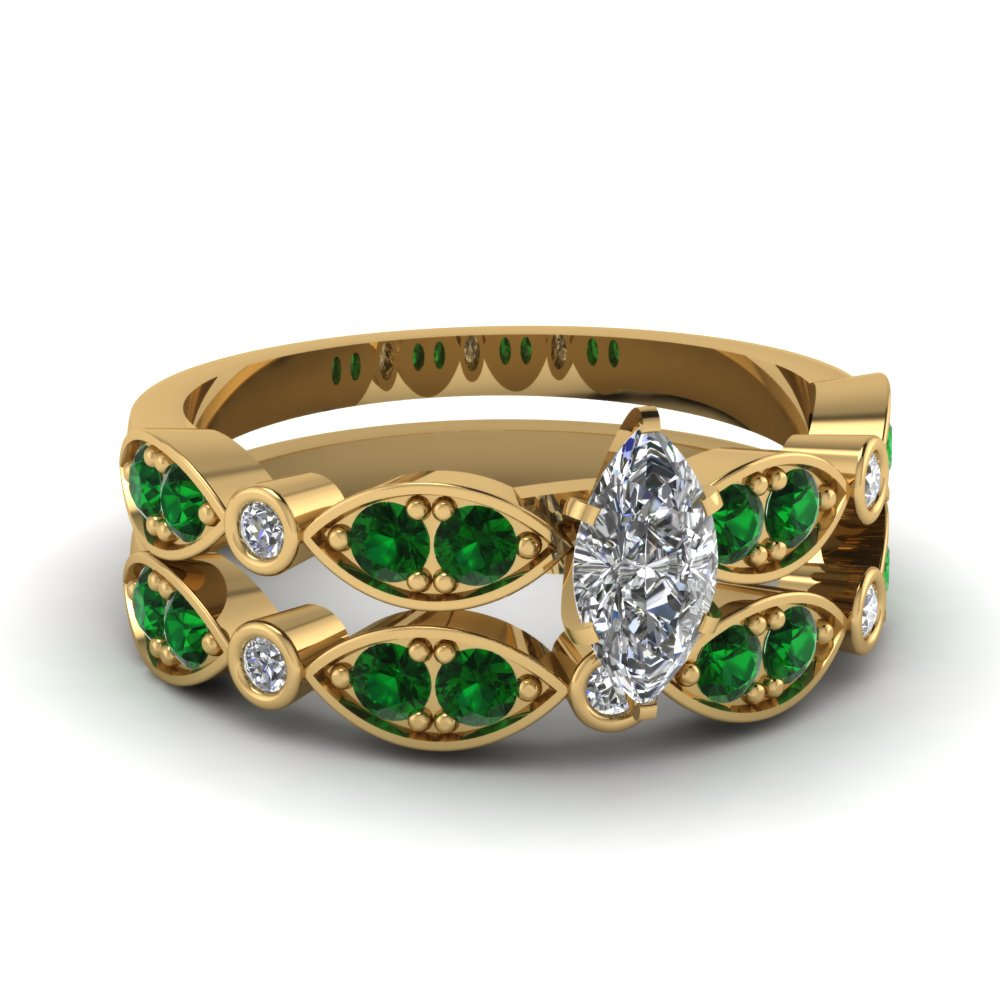 yellow-gold-marquise-white-diamond-engagement-wedding-ring-with-green-emerald-in-pave-bezel-set-FDENS2035MQGEMGR-NL-YG
