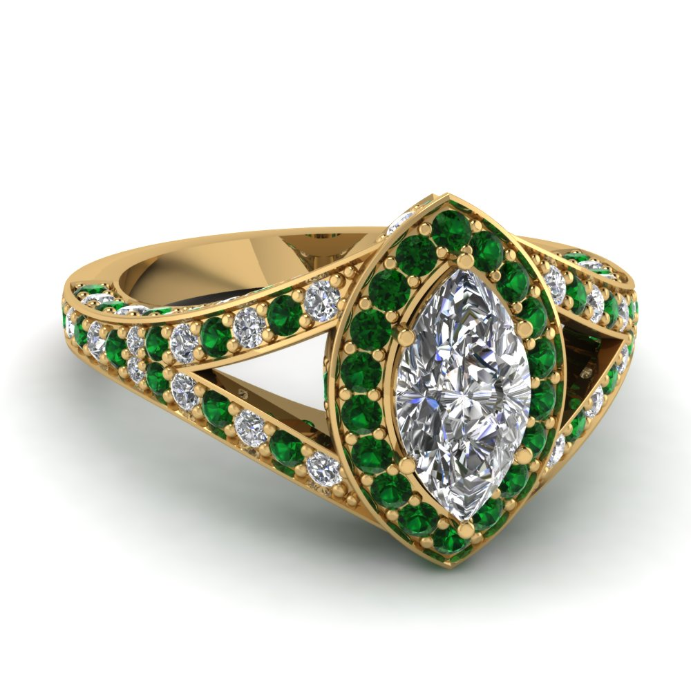 Marquise Diamond Halo Ring with Green Emeralds