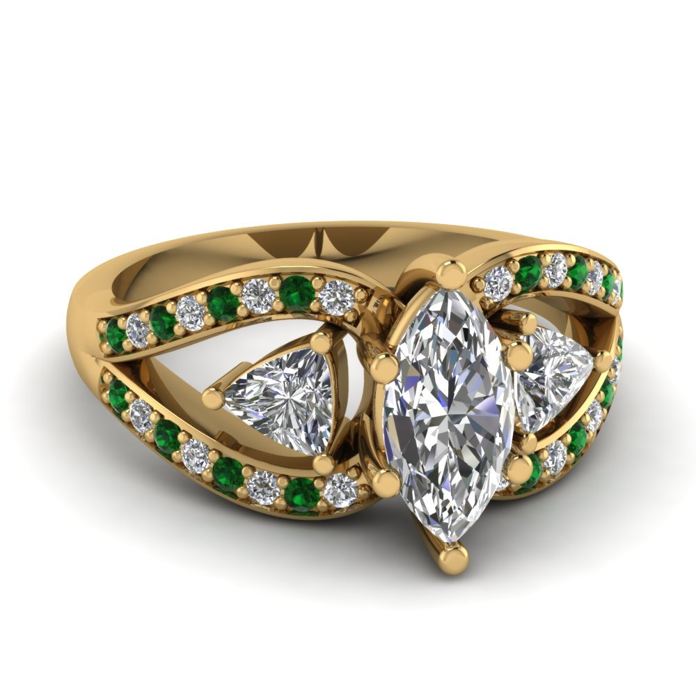 Emerald Side Stone Gold Rings
