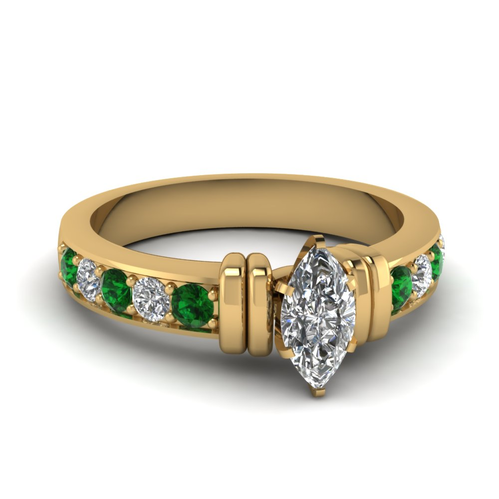 simple bar set marquise moissanite engagement ring with emerald in FDENR957MQRGEMGR Nl YG