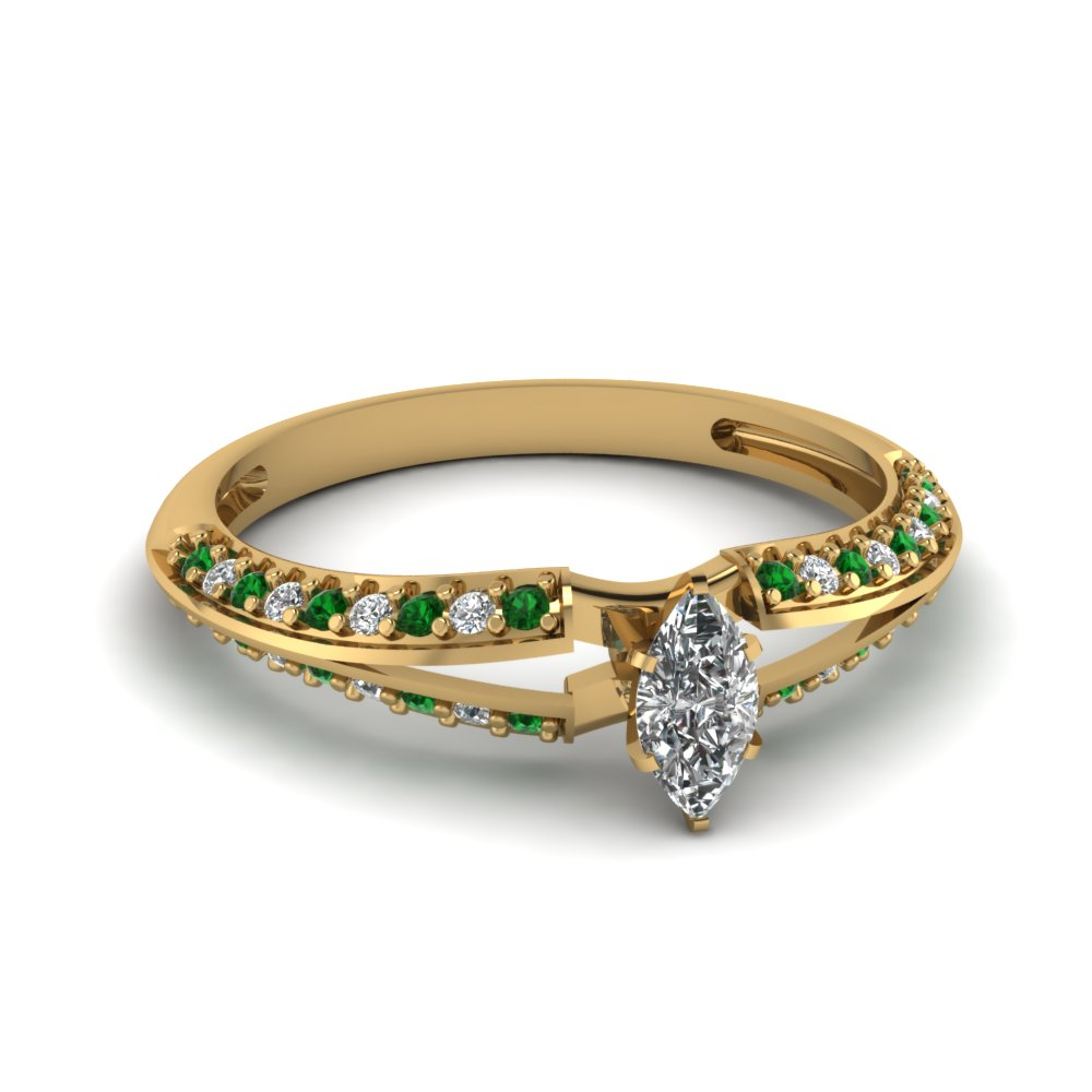 Marquise Diamond & Emerald Rings