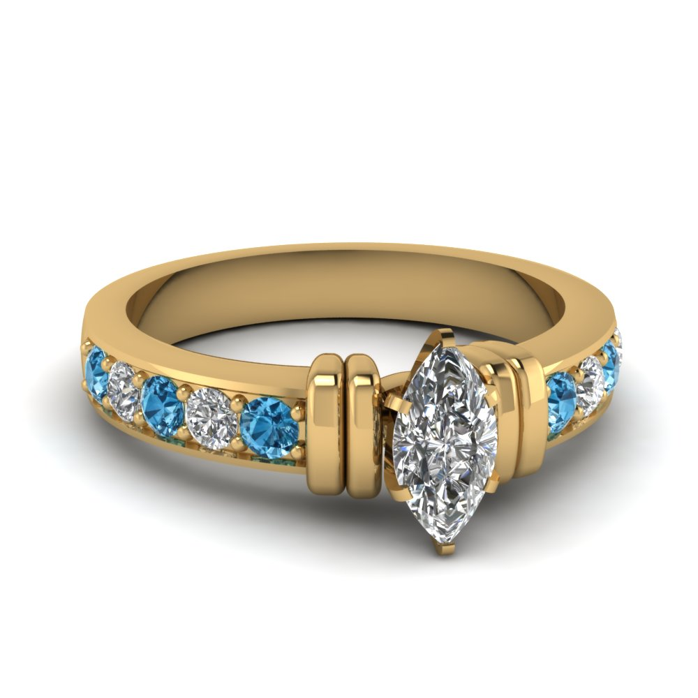 simple bar set marquise diamond engagement ring with blue topaz in FDENR957MQRGICBLTO Nl YG