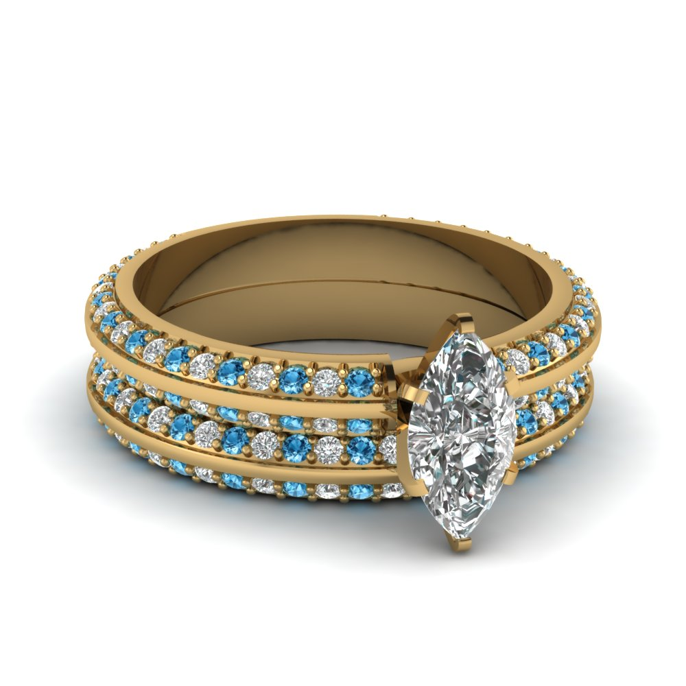 Knife edge pave marquise cut diamond wedding set with blue for Blue topaz wedding ring sets