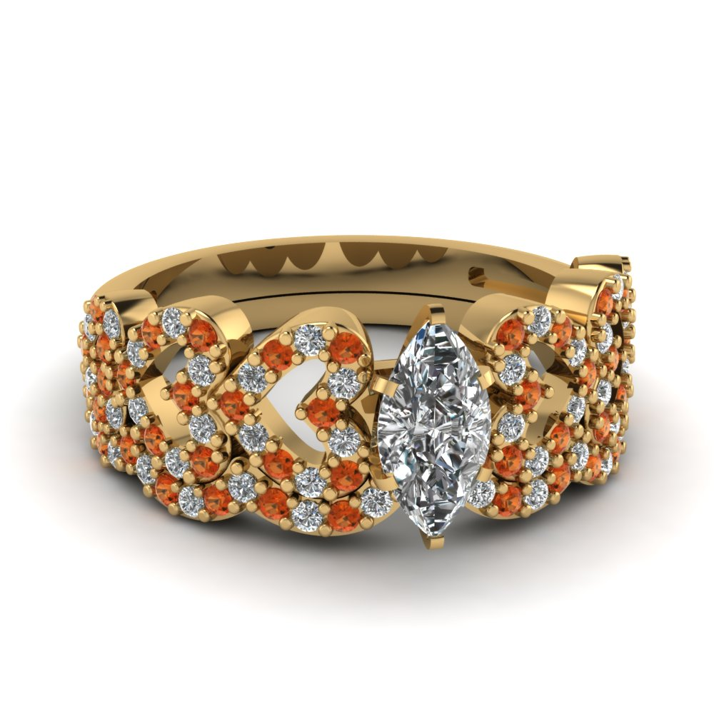 marquise shaped heart design linked diamond wedding set with orange sapphire in FDENS3051MQGSAOR NL YG.jpg