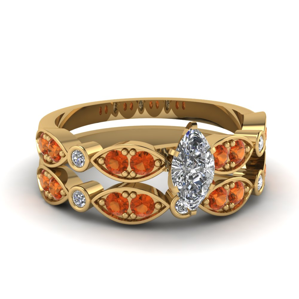 art deco marquise diamond wedding ring set with orange sapphire in FDENS2035MQGSAOR NL YG