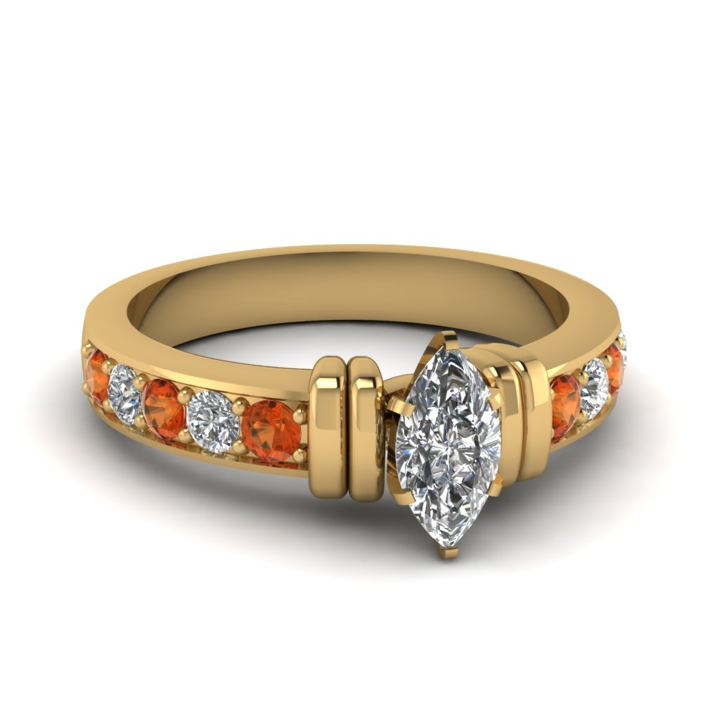 simple bar set marquise lab diamond engagement ring with orange sapphire in FDENR957MQRGSAOR Nl YG