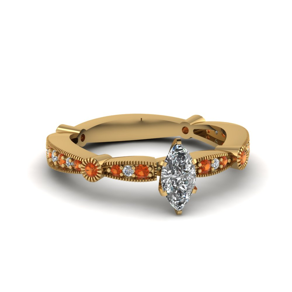 marquise diamond vintage tapered engagement ring with orange sapphire in FDENS3026MQRGSAOR NL YG