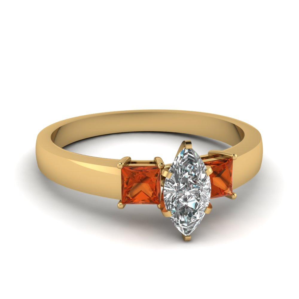 dainty 3 stone marquise cut moissanite engagement ring with orange sapphire in FDENS1024MQRGSAOR NL YG