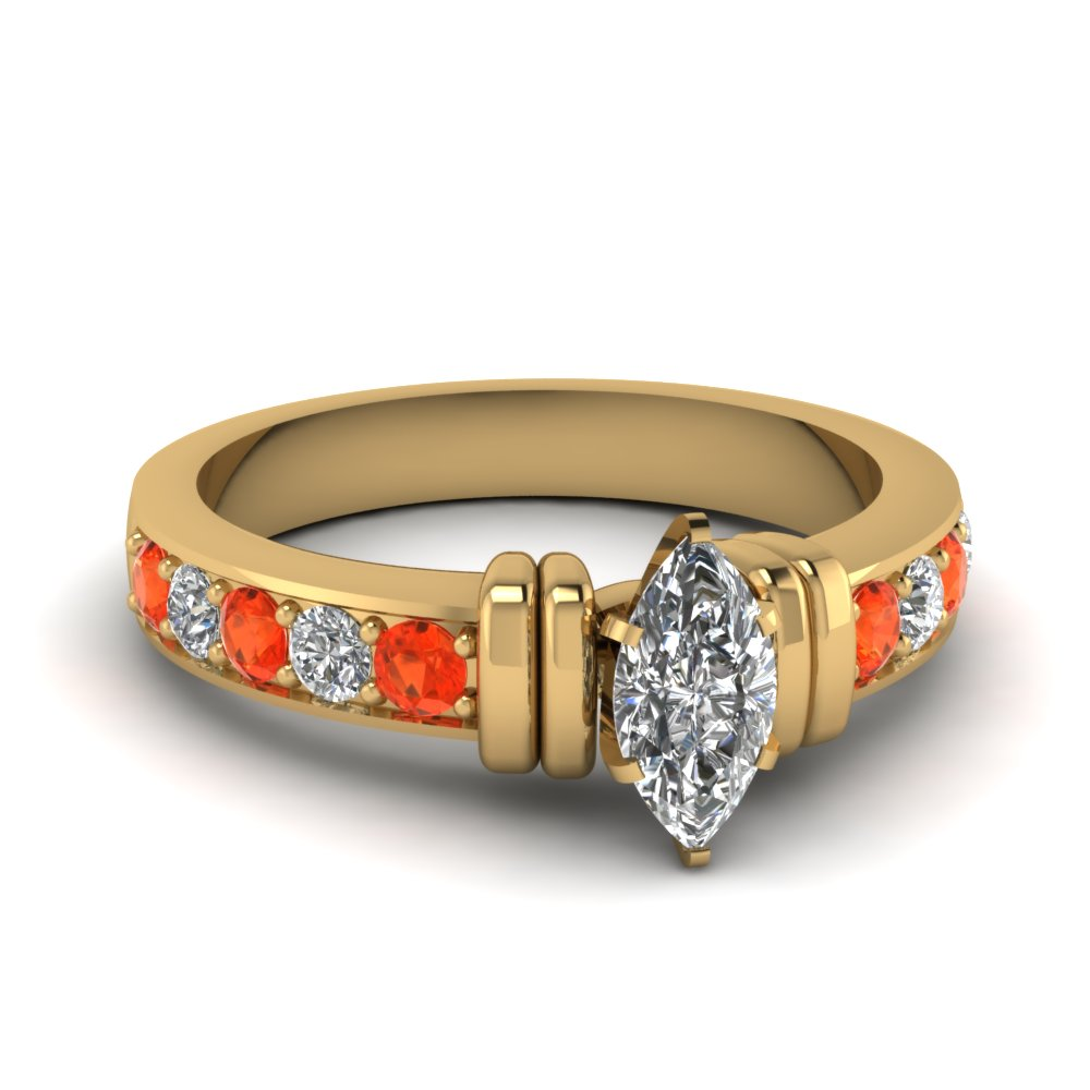 simple bar set marquise moissanite engagement ring with orange topaz in FDENR957MQRGPOTO Nl YG