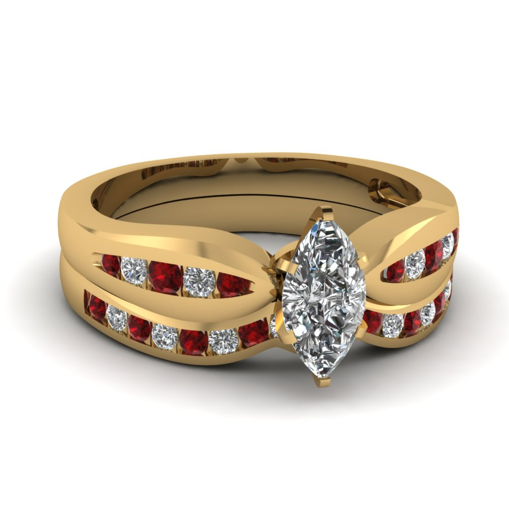 Bow Channel Wedding Set With Ruby