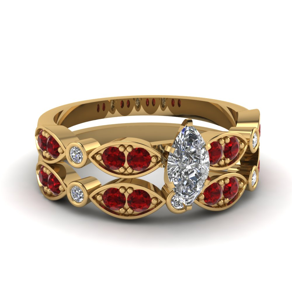 yellow-gold-marquise-white-diamond-engagement-wedding-ring-with-red-ruby-in-pave-bezel-set-FDENS2035MQGRUDR-NL-YG