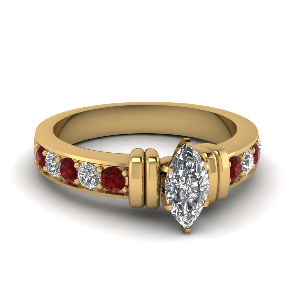 simple bar set marquise lab diamond engagement ring with ruby in FDENR957MQRGRUDR Nl YG