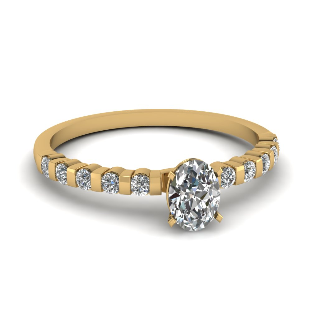 Oval Shaped Simple Bar Set Diamond Engagement Ring In 18K Yellow Gold