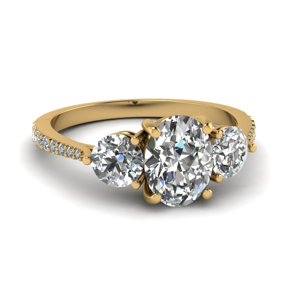 Petite 3 Stone Oval Diamond Engagement Ring In 14K Yellow Gold