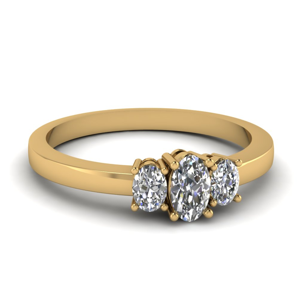 Oval Diamond 3 Stone Basket Engagement Ring In 14k Yellow Gold