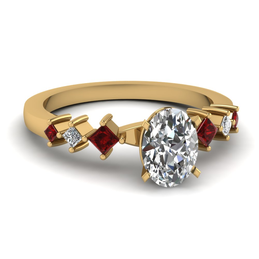 Oval Shaped Engagement Ring and Ruby Shank