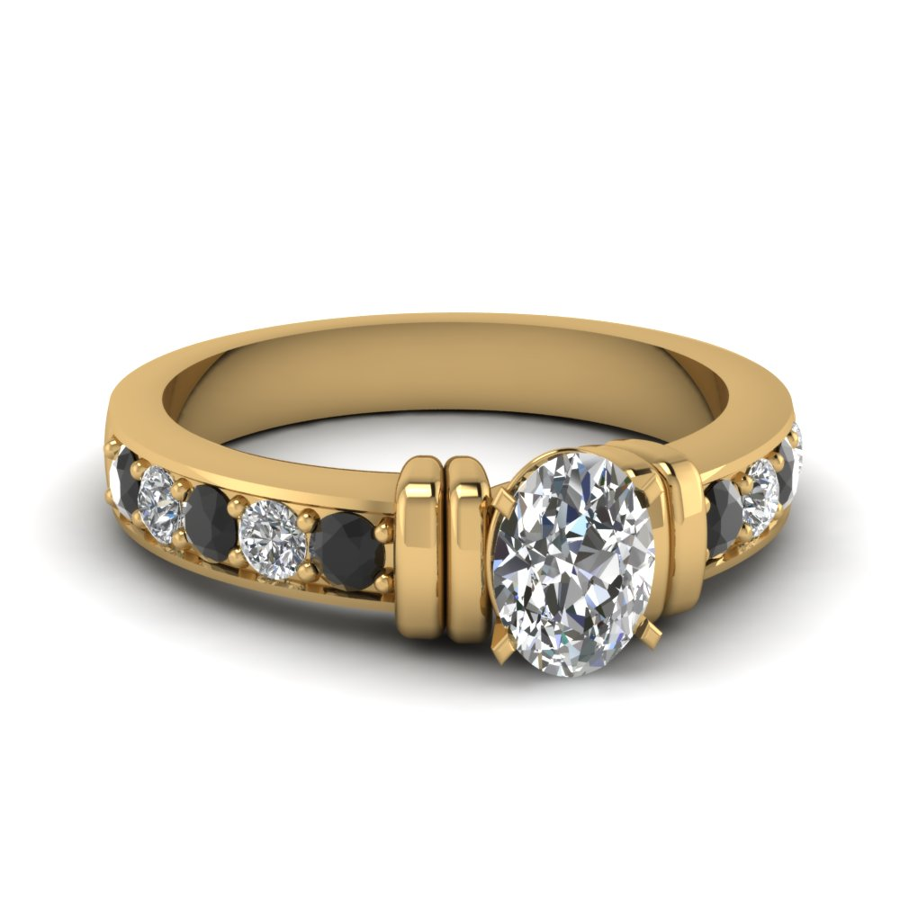 Simple Bar Set Oval Engagement Ring With Black Diamond In 18K Yellow Gold