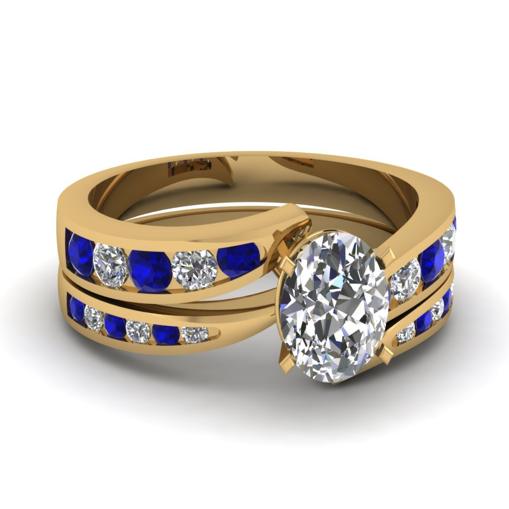 Oval Shaped Swirl Channel Diamond Bridal Set With Sapphire In 14K