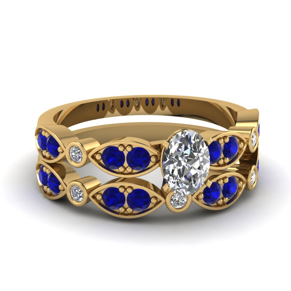 yellow-gold-oval-white-diamond-engagement-wedding-ring-with-blue-sapphire-in-pave-bezel-set-FDENS2035OVGSABL-NL-YG