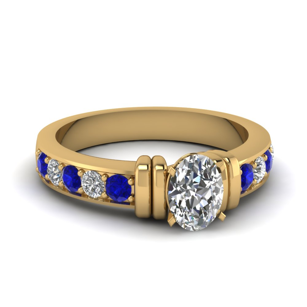 simple bar set oval diamond engagement ring with sapphire in FDENR957OVRGSABL Nl YG