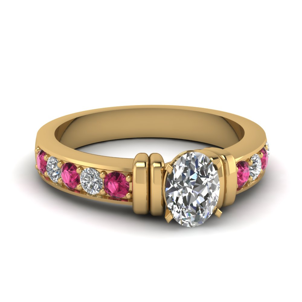 simple bar set oval moissanite engagement ring with pink sapphire in FDENR957OVRGSADRPI Nl YG