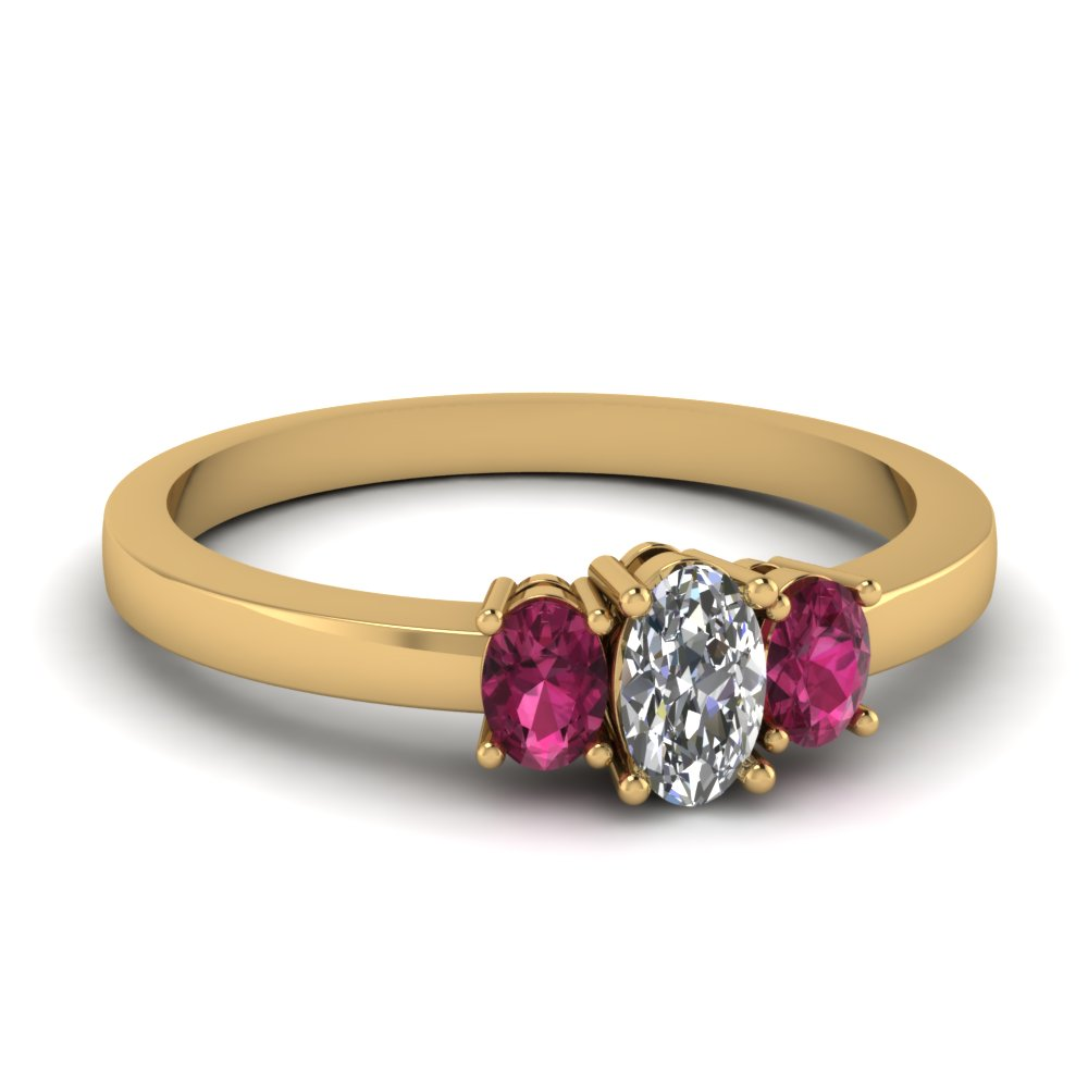 oval diamond 3 stone basket engagement ring with pink sapphire in FDENR2712OVRGSADRPI NL YG