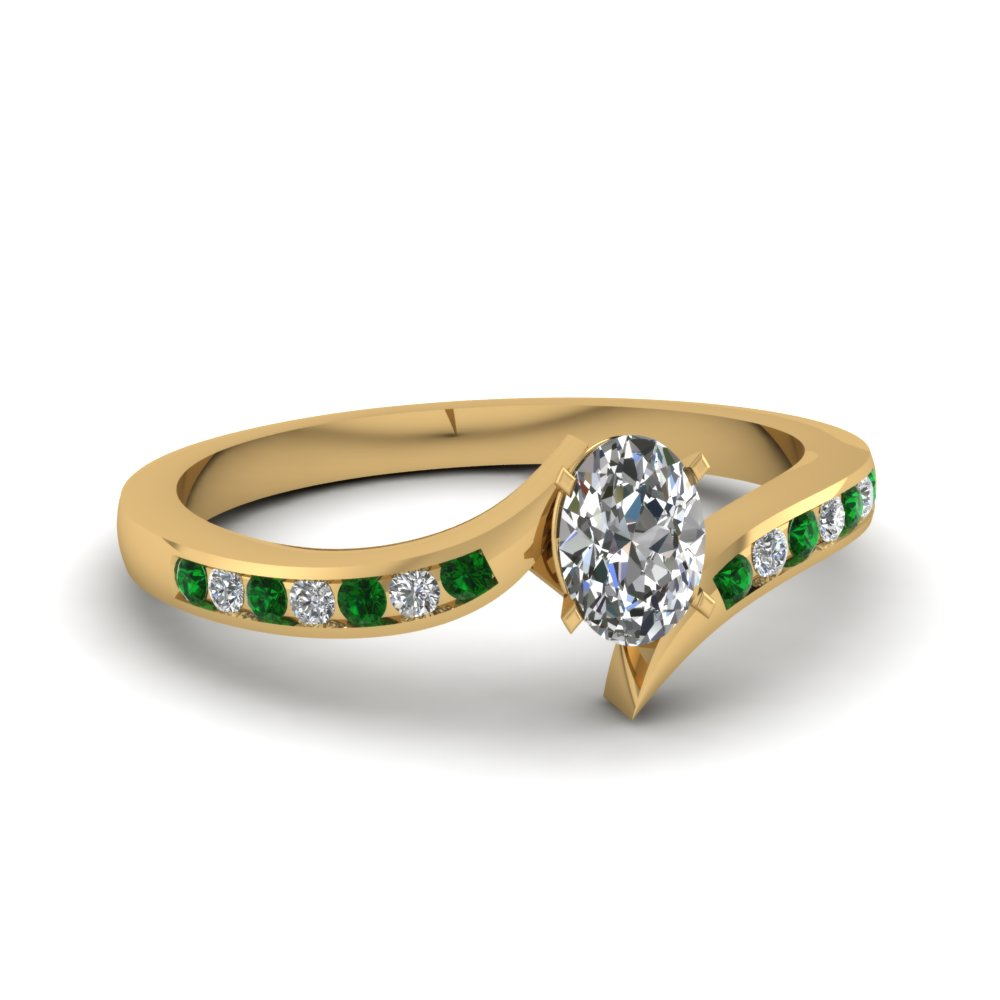 twist channel oval diamond engagement ring with emerald in FDENS3094OVRGEMGR NL YG 30