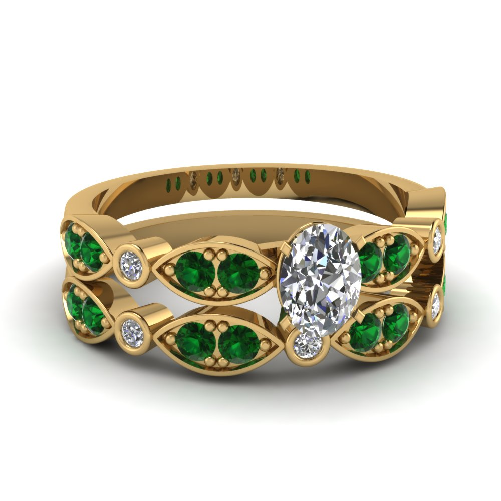 yellow-gold-oval-white-diamond-engagement-wedding-ring-with-green-emerald-in-pave-bezel-set-FDENS2035OVGEMGR-NL-YG