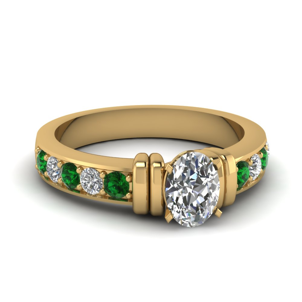 simple bar set oval diamond engagement ring with emerald in FDENR957OVRGEMGR Nl YG