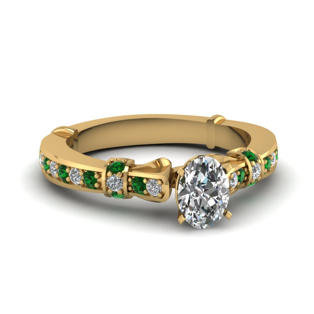 Delicate Emerald Side Stone Ring