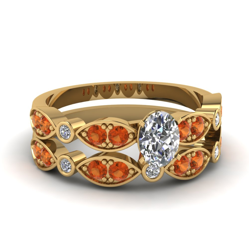 yellow-gold-oval-white-diamond-engagement-wedding-ring-with-orange-sapphire-in-pave-bezel-set-FDENS2035OVGSAOR-NL-YG