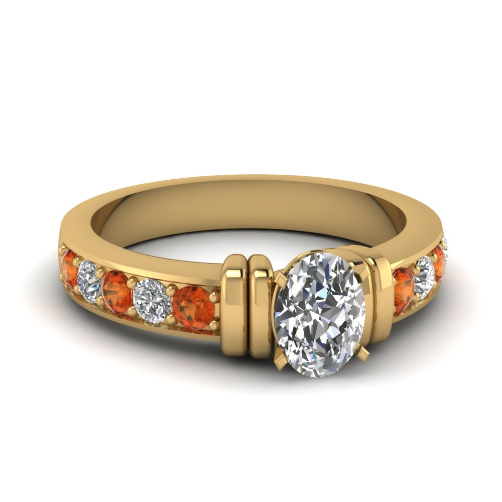 simple bar set oval diamond engagement ring with orange sapphire in FDENR957OVRGSAOR Nl YG