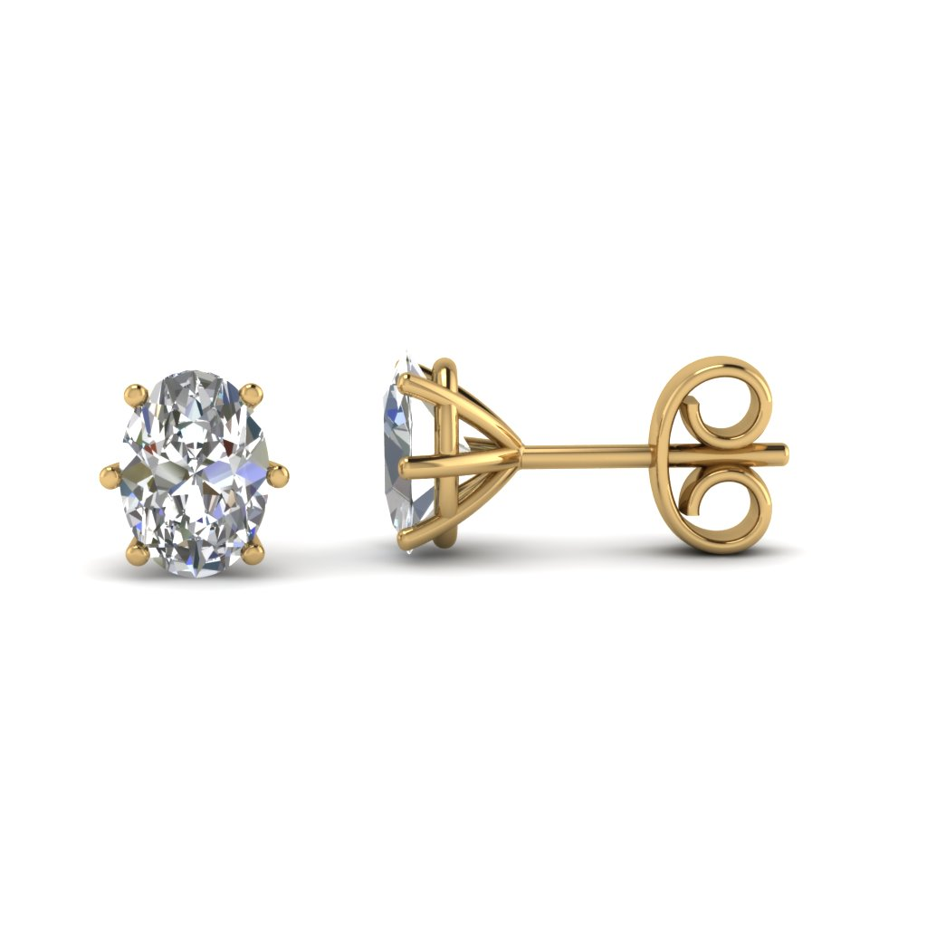 Yellow Gold Oval White Diamond Stud Earrings In