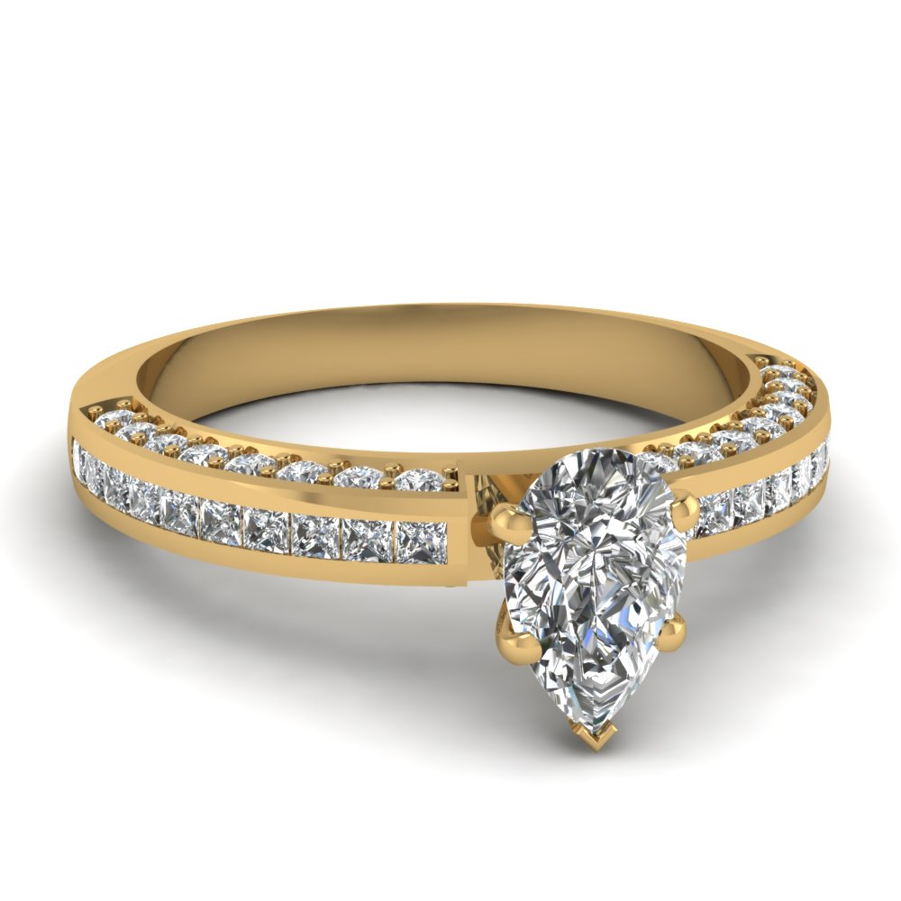 5 Prong Channel Set Pear Diamond Ring