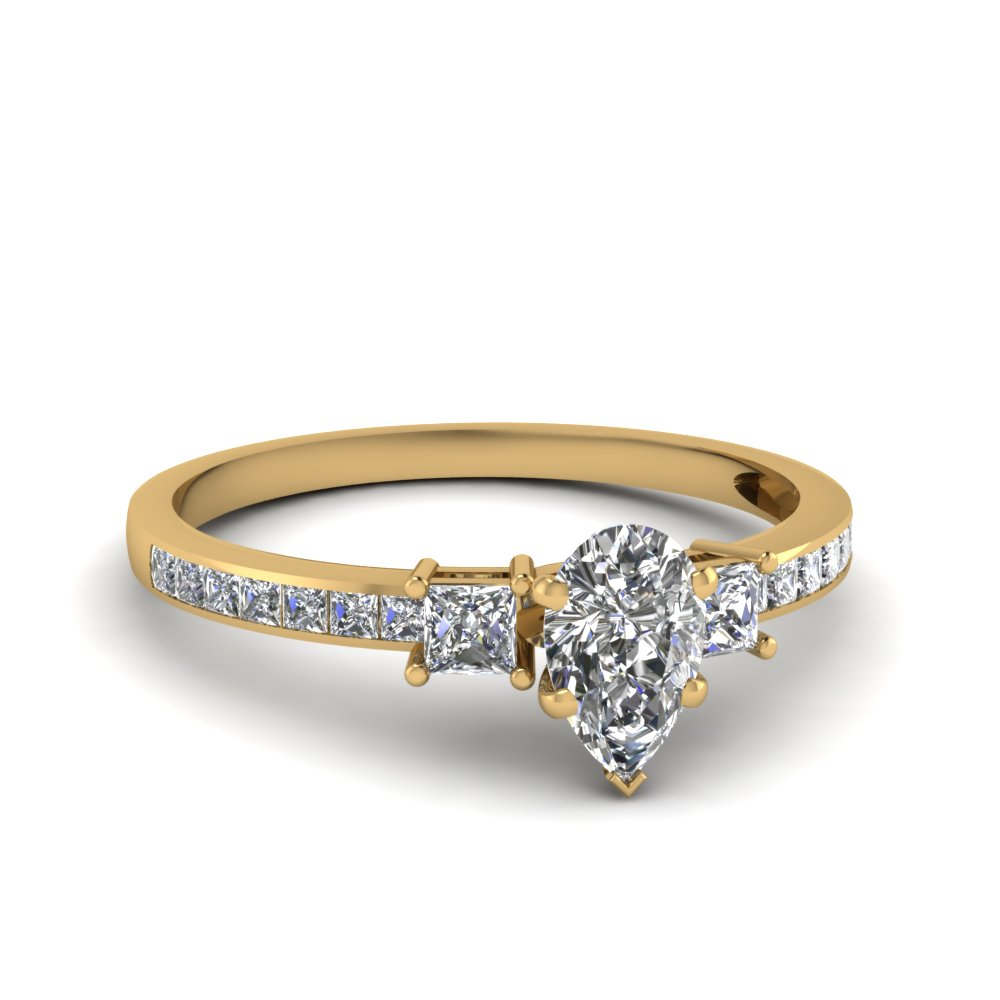 delicate 3 stone pear diamond engagement ring in FDENS3022PER NL YG 30