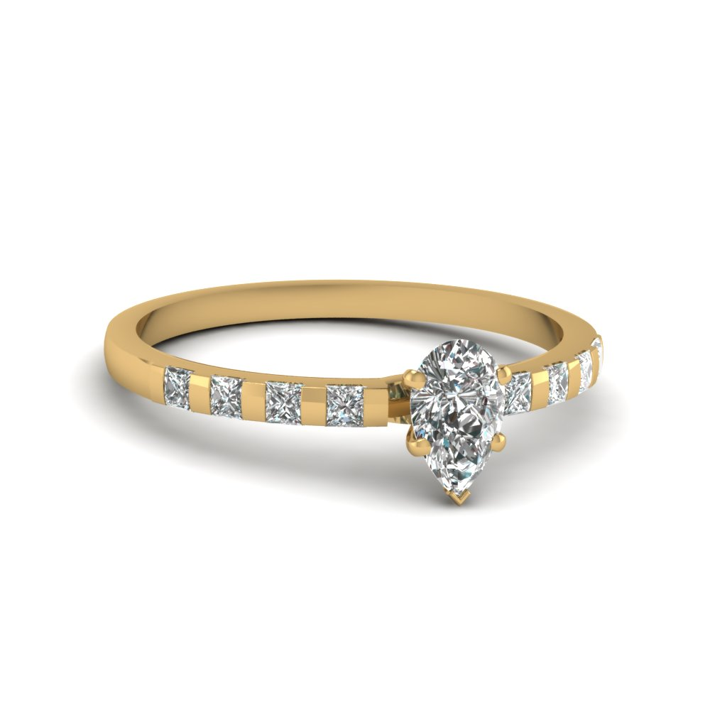delicate bar set pear diamond engagement ring in FDENS3100PER NL YG 30