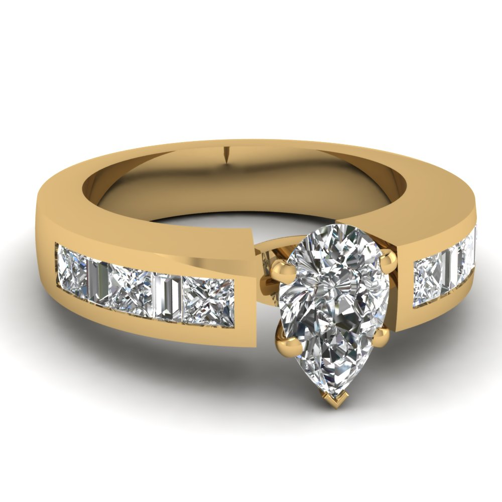 Gold Pear Shaped Diamond Thick Band Engagement Ring