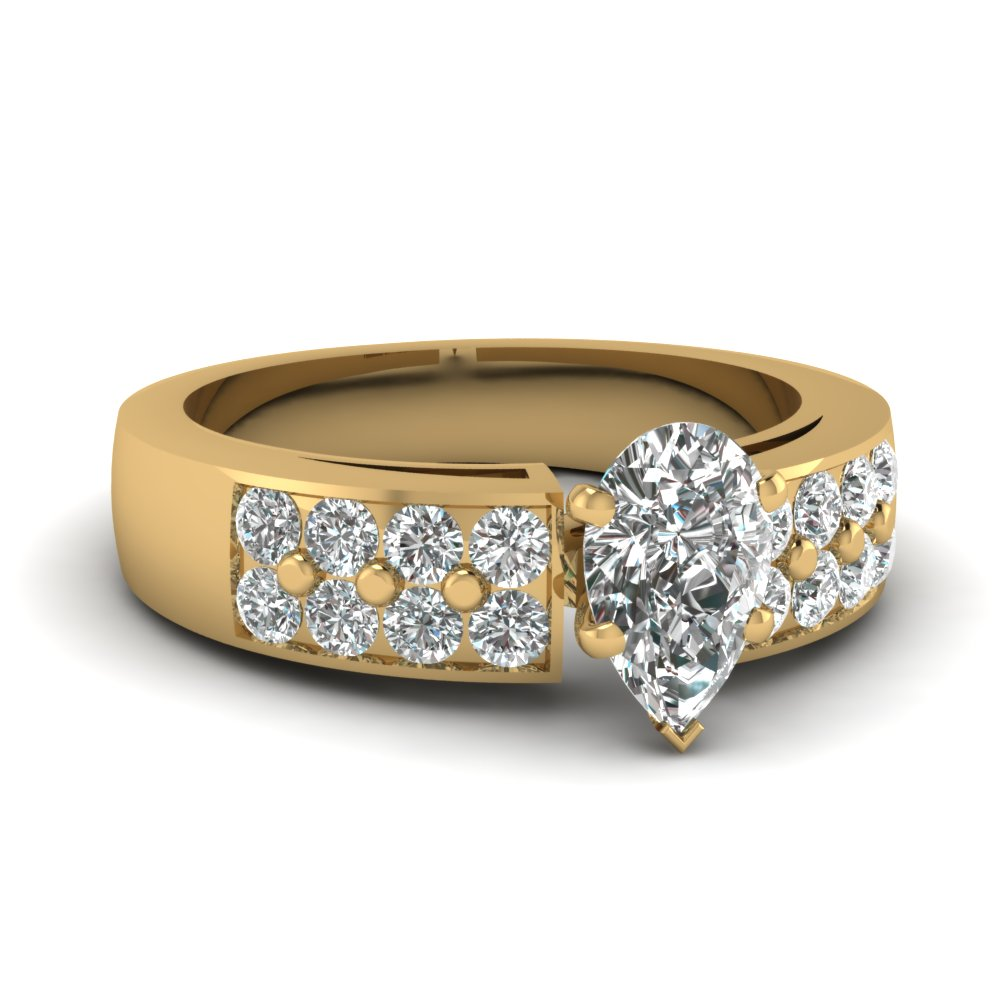 Wide Pear Diamond Ring