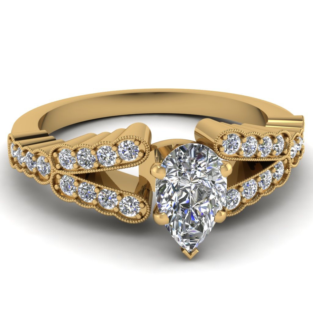 Pave Set Pear Diamond Milgrain Ring
