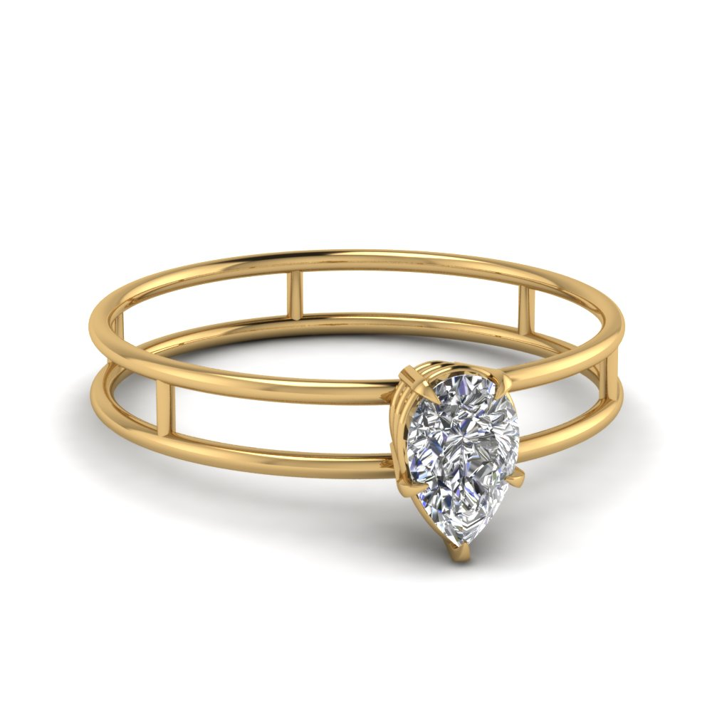 Parallel Split Shank Pear Solitaire Ring