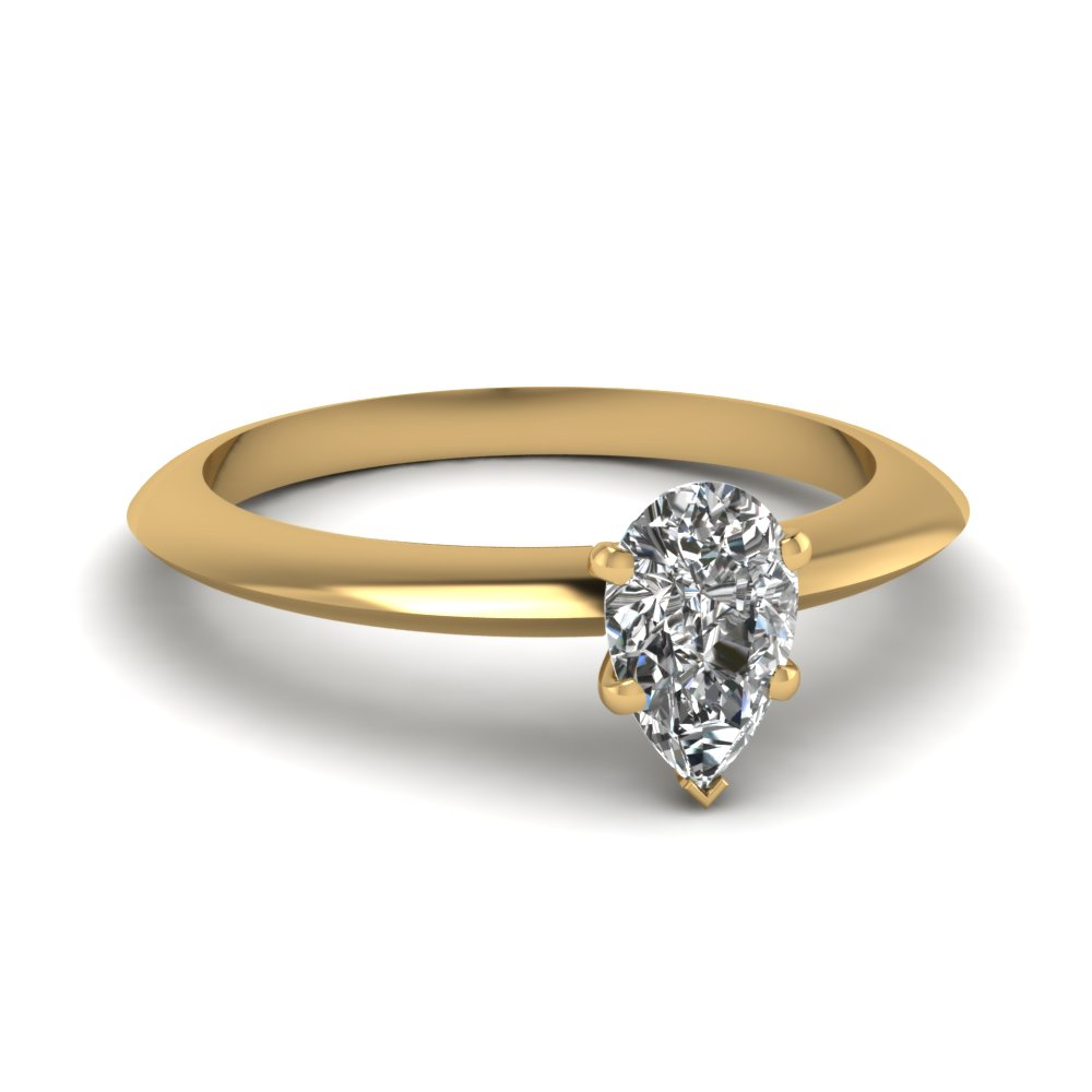 pear knife edge solitaire engagement ring in FDENR1283PER NL YG