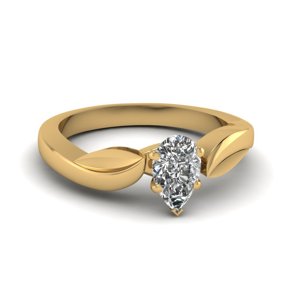leaf pear shaped solitaire engagement ring in FDENR6683PER NL YG