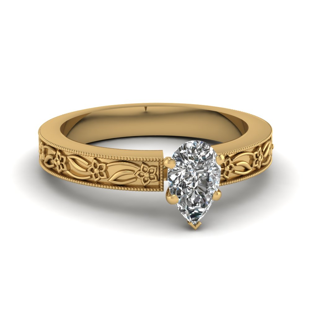 engraved flower pear shaped solitaire engagement ring in FDENS3537PER NL YG
