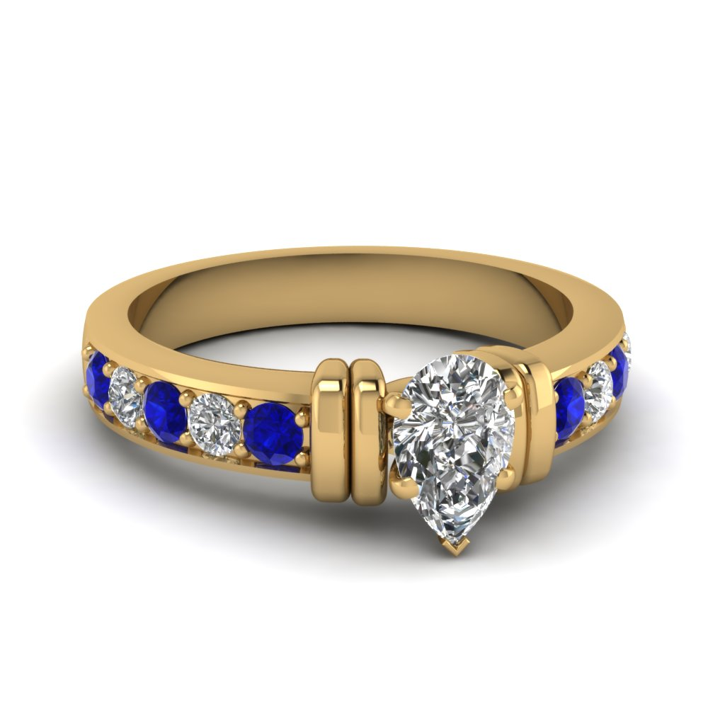 simple bar set pear diamond engagement ring with sapphire in FDENR957PERGSABL Nl YG