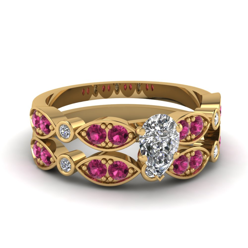 yellow-gold-pear-white-diamond-engagement-wedding-ring-with-dark-pink-sapphire-in-pave-bezel-set-FDENS2035PEGSADRPI-NL-YG
