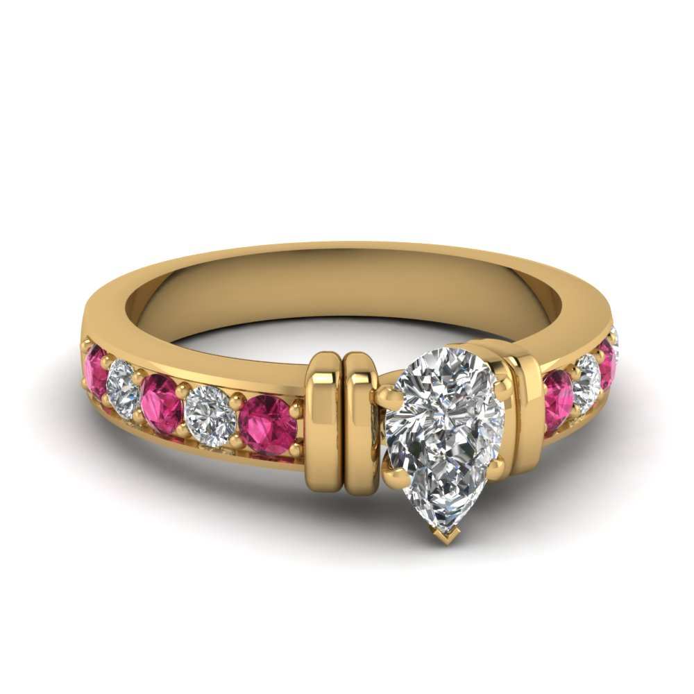 simple bar set pear moissanite engagement ring with pink sapphire in FDENR957PERGSADRPI Nl YG
