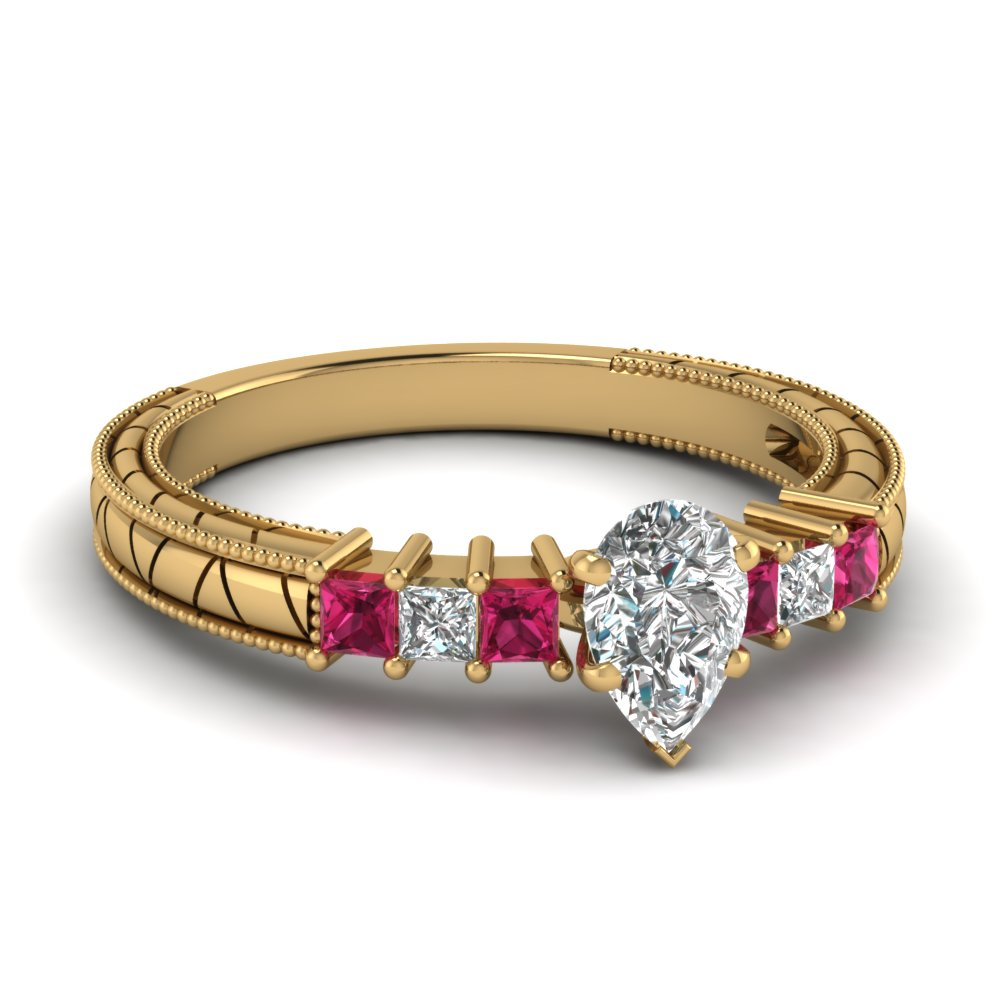 Yellow Gold Pear White Diamond Engagement Wedding Ring With Pink Sapphire In Prong Set
